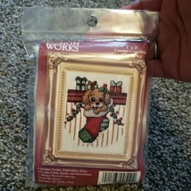 Design Works Counted Cross Stitch Picture Kit Puppy In Stocking 2 x 3 - $14.99