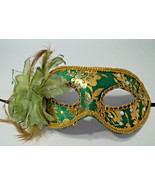 Green Gold Lily Flower Mardi Gras Masquerade Value Mask - $11.39
