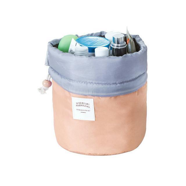 Barrel Bag Travel Organizer Bucket Shaped Cosmetic Case Drawstring Makeup Pouch
