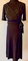 Ann Taylor LOFT Black Short Sleeve V-Neck True Wrap Dress size 4 Rayon P... - $19.95