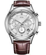 Brown Mens Business Casual Elegant Chronograph Sports Watch White Dial And - $173.74