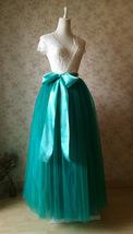 Womens Ruffle Maxi Tulle Skirt Floor Length Wedding Maxi Tulle Skirt GREEN Plus  image 3