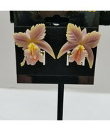 Plastic Orchid Earrings Vintage Gold Tone Clip - $15.83