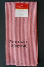 FAT CHEF TEA TOWEL Red Stripes Never Trust a Skinny Cook NEW - $5.99