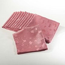Fennco Styles Jacquard Circle Design Napkins ,Set of 4 (Coral) - $10.88
