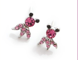 Very Cute Pink Crystal Octopus Earring - $4.99