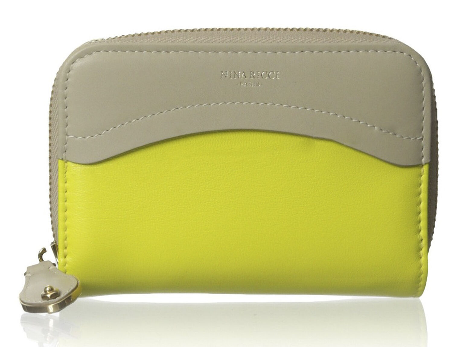 Primary image for Nina Ricci Yellow Beige Lambskin Leather Colorblock Zip Around Wallet $675 NWT