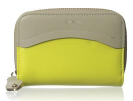 Nina Ricci Yellow Beige Lambskin Leather Colorblock Zip Around Wallet $675 NWT  - $192.56
