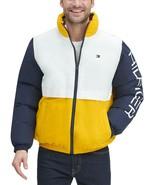 Tommy Hilfiger  Men's Nylon Taslan Retro Puffer Jacket Navy-White-Yellow - $112.50