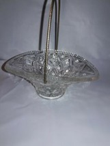 VINTAGE AVON CLEAR PRESSED GLASS BASKET WITH METAL HANDLE FOSTORIA DIAMOND  - $8.91
