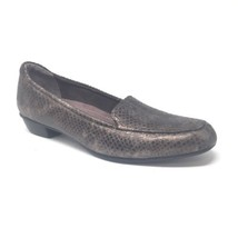 Clarks Size 10 N Animal Snake Print Loafer Shoe Dark Pewter Grey 66404 - $29.02