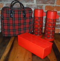 Vintage Aladdin Red Plaid Picnic Lunch Kit Thermos Sandwich Box Bag Date... - $48.50