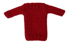 Barbie Doll Clothes Knit Red Boatneck Sweater Handmade - $6.49