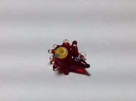 Miniature Glass red  hedgehog Handmade Blown Glass Made USA