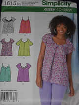 Tops Misses size 14-22 Simplicity 1615 Sewing Pattern  - $8.90