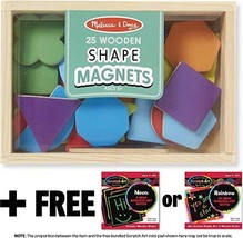 Shapes and Colors Wooden 25 Magnets-in-a-Box Gift Set + FREE Melissa & Doug Scra - $21.53