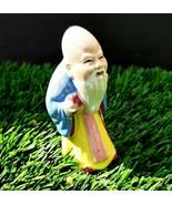 Vintage 1920 alte chinesische weise Mann-Kunstkeramik-Statue Figur # 1 - $44.56