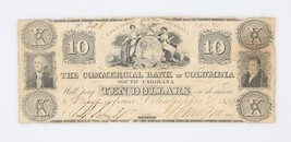 1850 $10 Dollar The Commercial Bank of Columbia South Carolina - $62.36