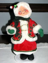 ANNALEE MRS CLAUSE CHRISTMAS DOLL Pretty Dress Vest Felt Lifelike Smilin... - $21.95