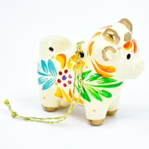 Handcrafted Painted Ceramic White Cow Country Farm Confetti Ornament Made Peru