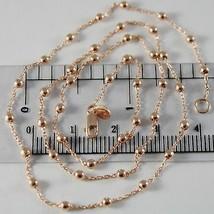 Kette Halsnah Gold Pink 750 18K, Lang 42 cm, Kugeln Glatt, Durchmesser 2 MM - $351.66