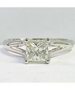 1.09 Ct Solitaire Princess Cut Diamond Engagement Ring 14k White Gold - $2,177.01