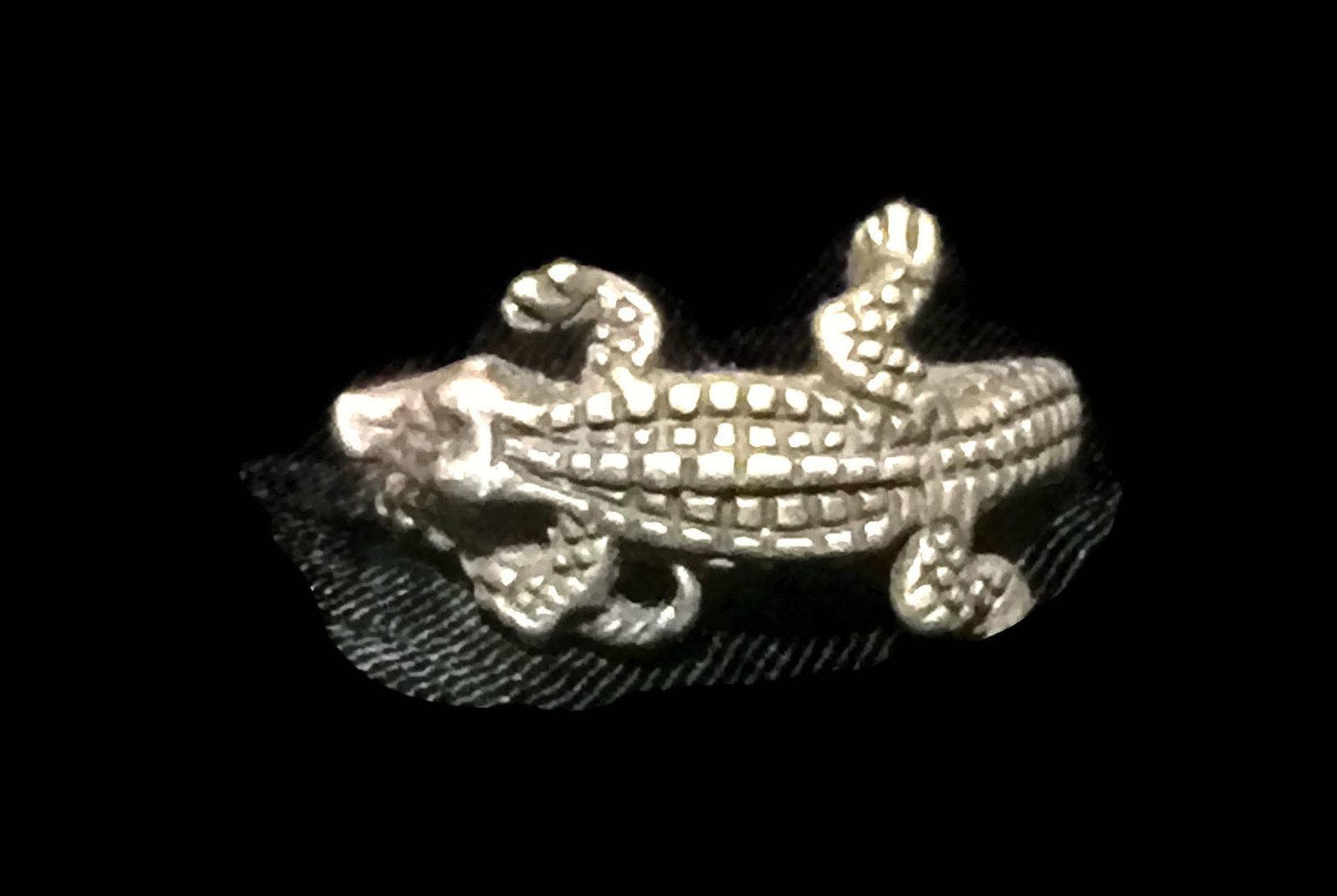 Vintage Alligator Crocodile Sterling Silver Ring Size 5 Handmade