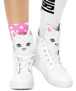 Moda Donna Kawaii Kitty Allacciate Alto Top Sneakers, Bianco, USA 5.5 - $34.64