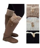 Lace Trim Leg Warmers Boot Socks Button Knit Knee High Crochet Socks - $6.99