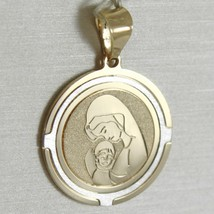 18K WHITE AND YELLOW GOLD MEDAL STYLIZED VIRGIN MARY AND JESUS MADE IN ITALY image 1