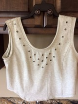 New Hole Studded Crop Top B Original Boutique Natural Beige Womens M Sho... - $19.99
