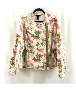 Lane Bryant Womens Moto Jacket Floral Asymmetric Zip Pockets Pink Green 28 - $33.85