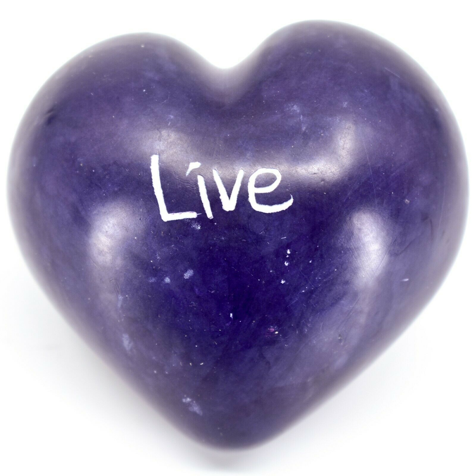 """Vaneal Group Hand Carved Soapstone 2-Sided Purple """"Live"""" Heart Paperweight"""