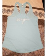 BONJOUR Turquoise Mom Theme Racerback Tank Top yoga gym fit mom XL NEW - $11.87