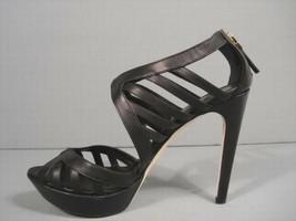 Fendi 38/7.5 Black Cut Out Leather Platform Sandals Authentic Booties Discount - $594.69