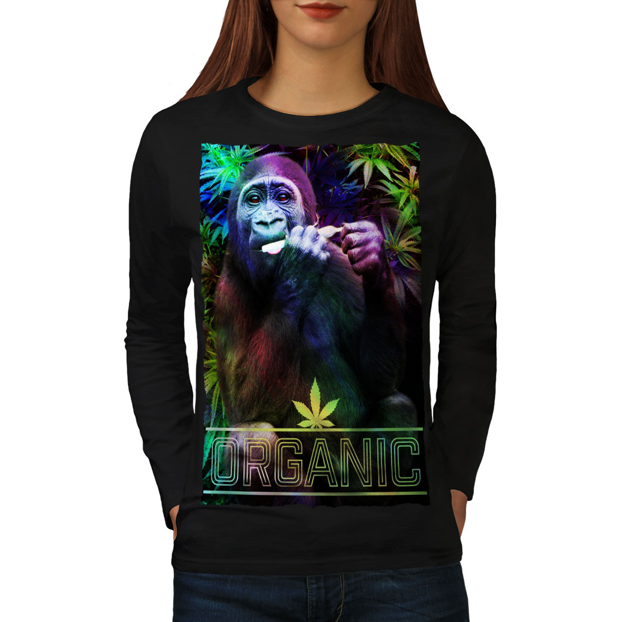 Primary image for Organic Cannabis Rasta Tee Monkey Fun Women Long Sleeve T-shirt