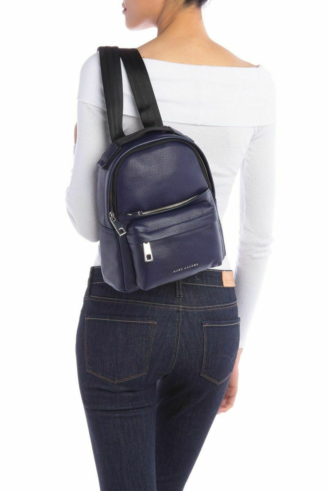 Primary image for Marc Jacobs Varsity Pack Small Leather Backpack Women's Bag INDIGO MSRP $395.00