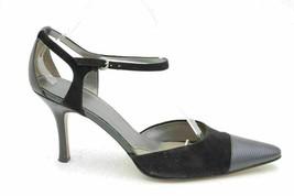 AK Anne Klein Brita Women Ankle Strap Pump Heels US 9M Black Leather Suede - $8.85