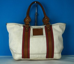 Auth Burberry London Blue Label Natural Cotton Canvas & Brown Leather Hand Bag - $157.41