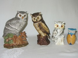 Lot of 4 Owl Ceramic Figurines Gray Brown Faux Marble Japan Pottery Signed - $39.59