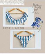 Sugar Coast by Lolli bandeau ruffle blue stripe Bikini Set Large NEW! - $19.34