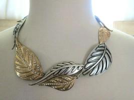 Jessica Simpson Rhinestone Necklace Leaf Motif Crystal Gold Silver Antiqued Tone - $29.69
