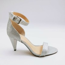 Vince Camuto Womens Cashane Ankle Strap Sandals Cone Heel Radiant Silver 8.5M - $39.59