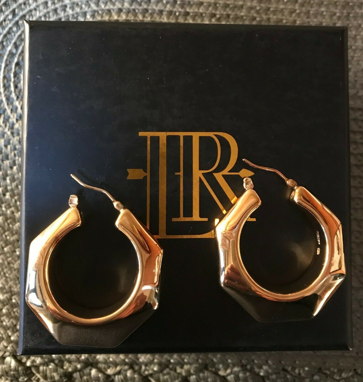 Primary image for Lisa Robertson ~ Bold Octagonal Hoop Earrings ~ Highly Polished Snap Top Closure