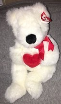 1997 TY Classic Plush White Bear ROMEO Holding Red Heart Bow Retired NWT... - $11.87