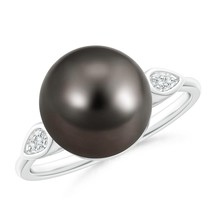11mm Classic Ball Tahitian Cultured Pearl Black Diamond Cocktail Ring - $1,151.10