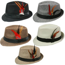 FEDORA with BAND & FEATHER Hat Trilby Gangster Vintage Style - $11.50