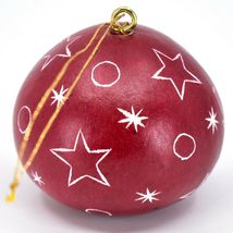 Handcrafted Carved Gourd Santa on Moon Red Christmas Ornament Made in Peru image 3