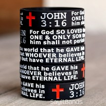 Set of John 3:16 Verse Religious Wristbands Wholesale Lot of Silicone Br... - $4.93+