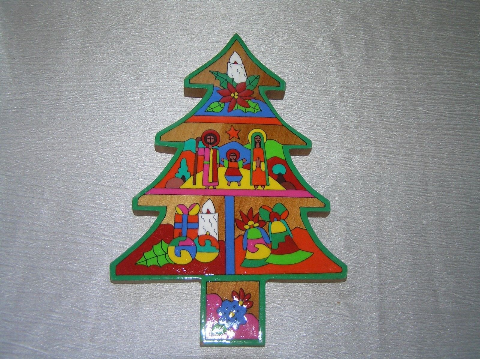 Estate Vibrantly Painted Wood Christmas Tree And 50 Similar Items